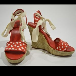 DVF Persephone Red Printed Wedge Espadrilles Shoes